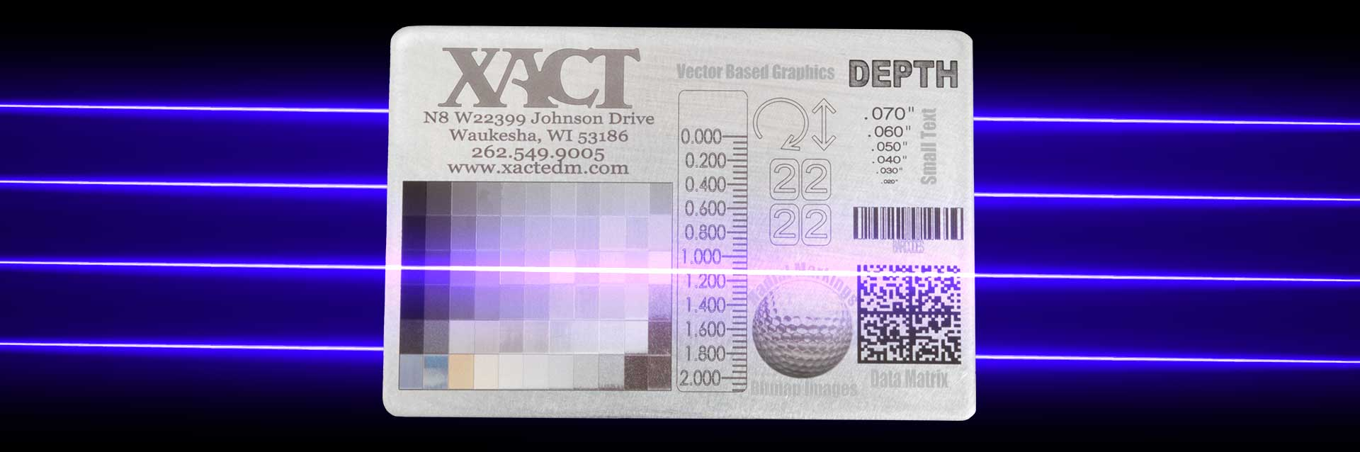 sample card produced with xact wire emds industrial laser marking service equipment