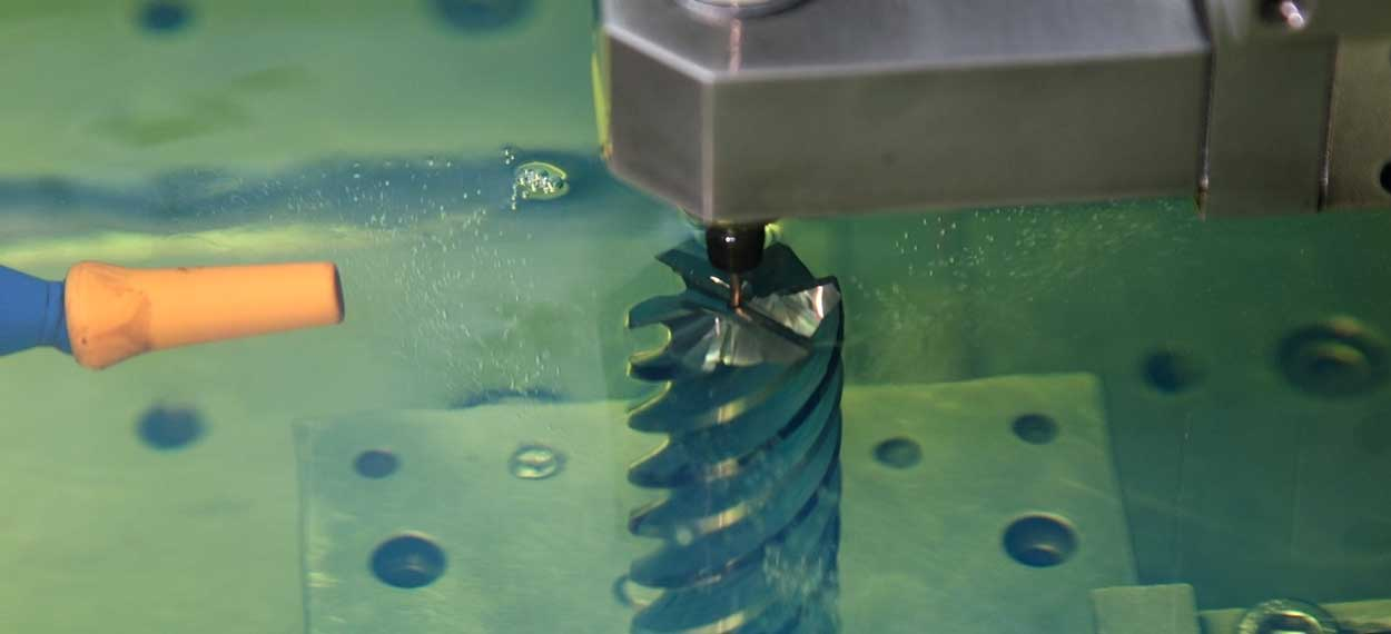 small hole EDM drilling in action